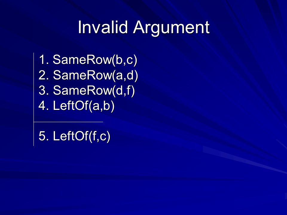 Invalid Argument 1. SameRow(b,c) 2. SameRow(a,d) 3.