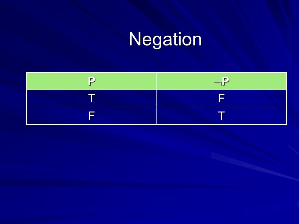 Negation P PPPP TF FT