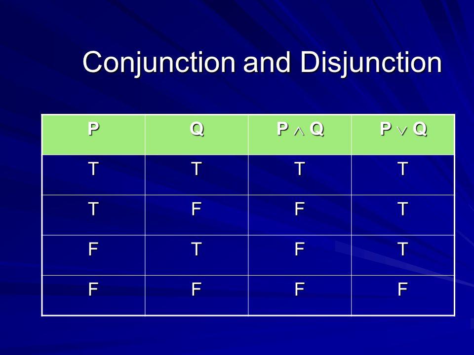 Conjunction and Disjunction PQ P  Q P  Q TTTT TFFT FTFT FFFF