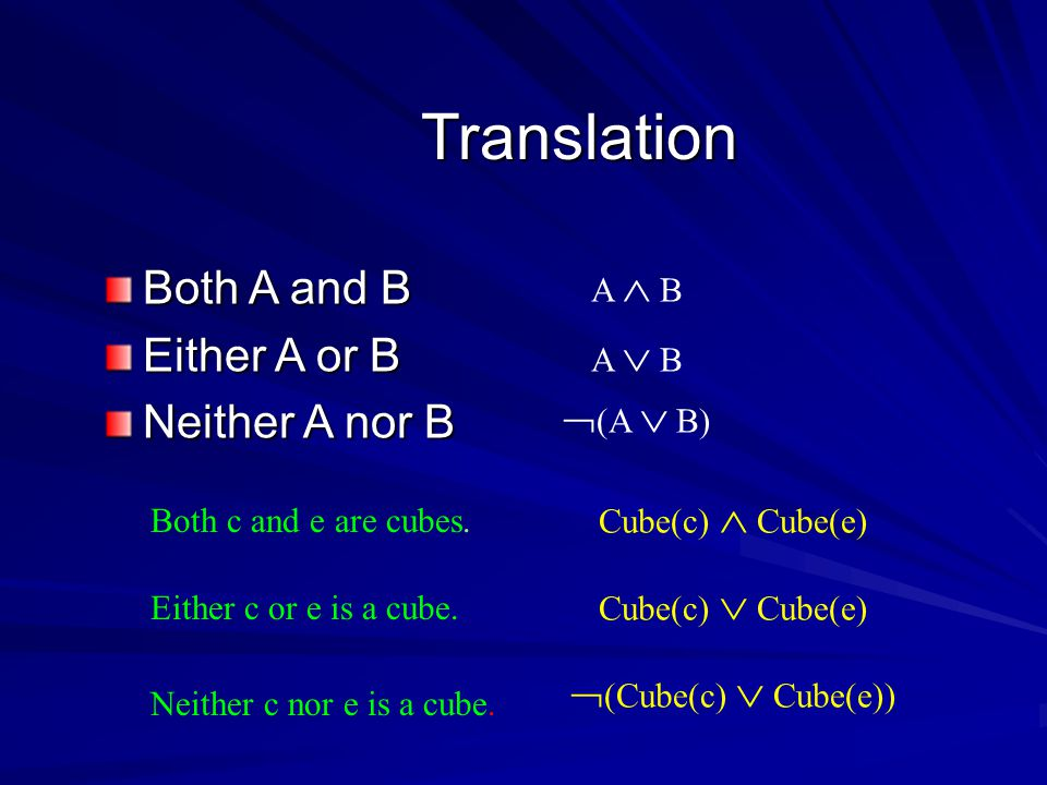 Translation Both A and B Either A or B Neither A nor B A  B A  B  (A  B) Both c and e are cubes.