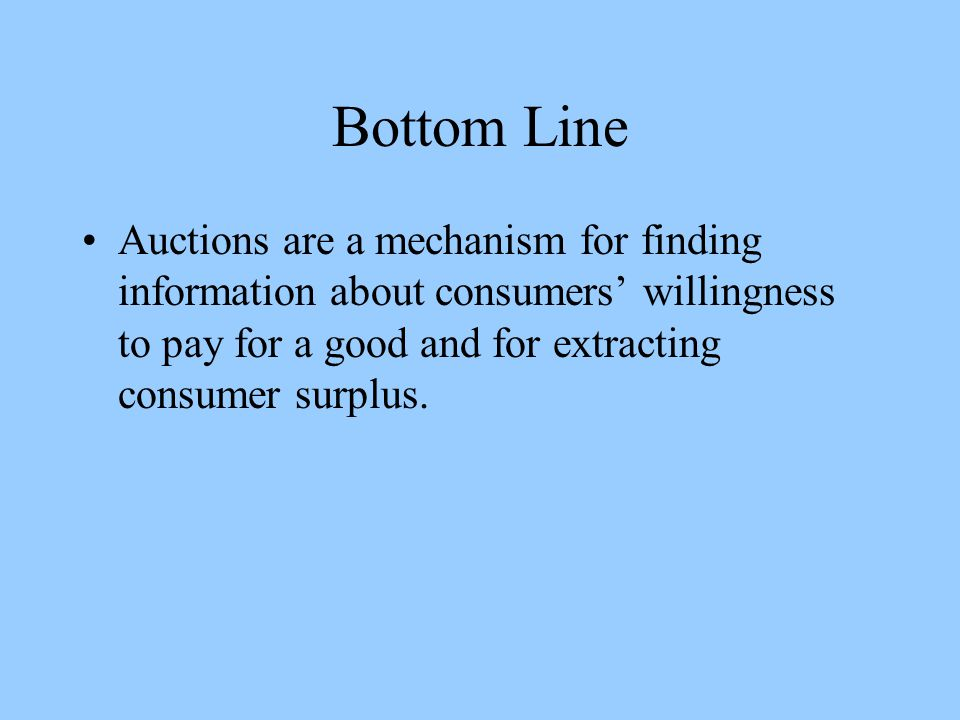 Bottom Line Auctions are a mechanism for finding information about consumers' willingness to pay for a good and for extracting consumer surplus.