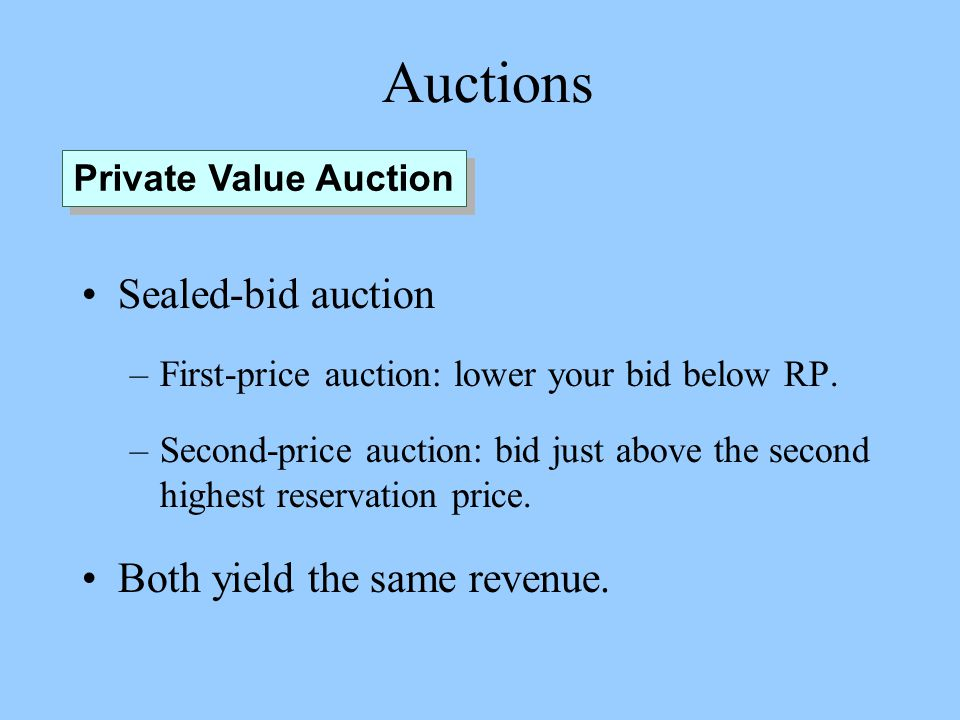 Auctions Sealed-bid auction –First-price auction: lower your bid below RP.