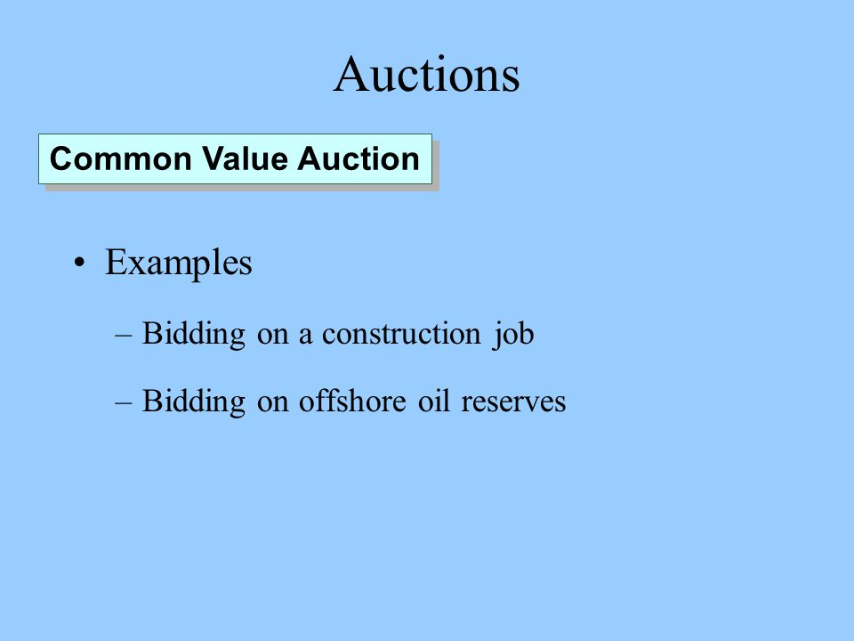 Auctions Examples –Bidding on a construction job –Bidding on offshore oil reserves Common Value Auction