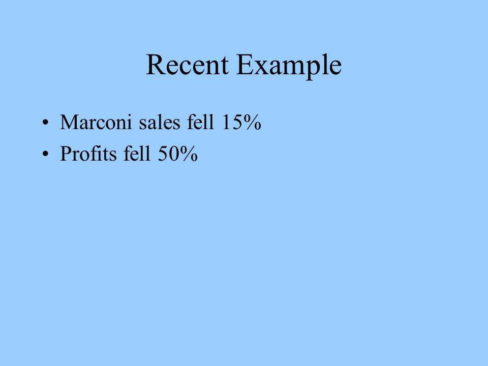 Recent Example Marconi sales fell 15% Profits fell 50%