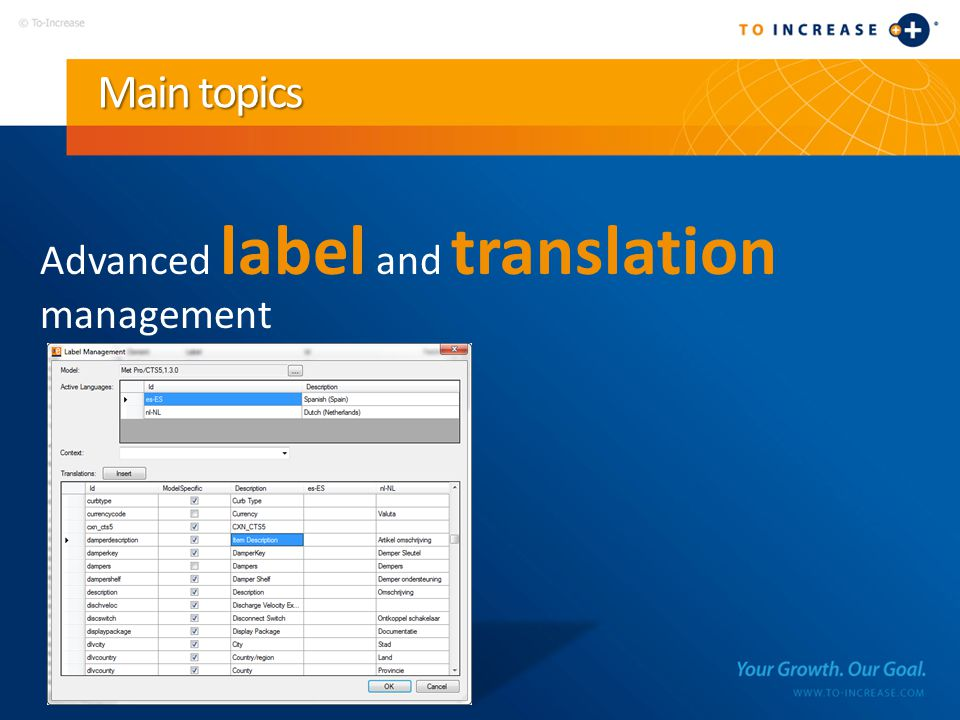 Main topics Advanced label and translation management
