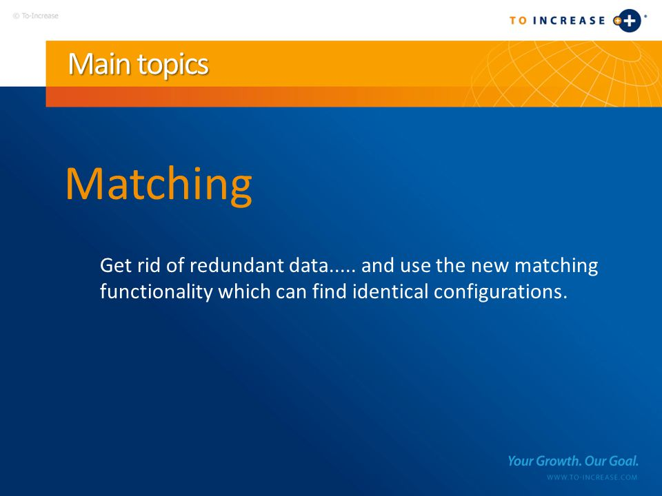 Main topics Matching Get rid of redundant data.....