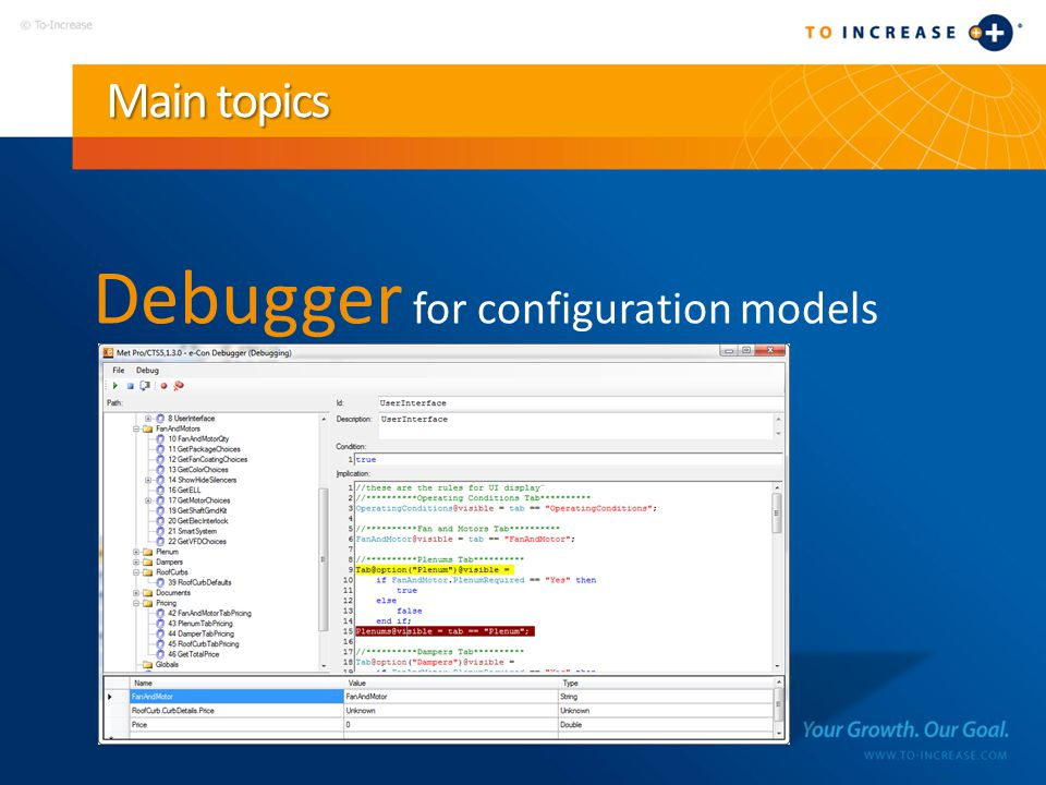 Main topics Debugger for configuration models