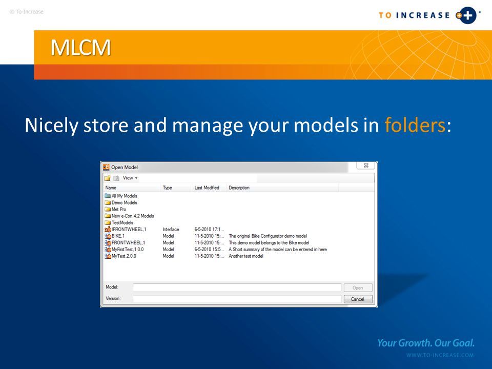 MLCM Nicely store and manage your models in folders: