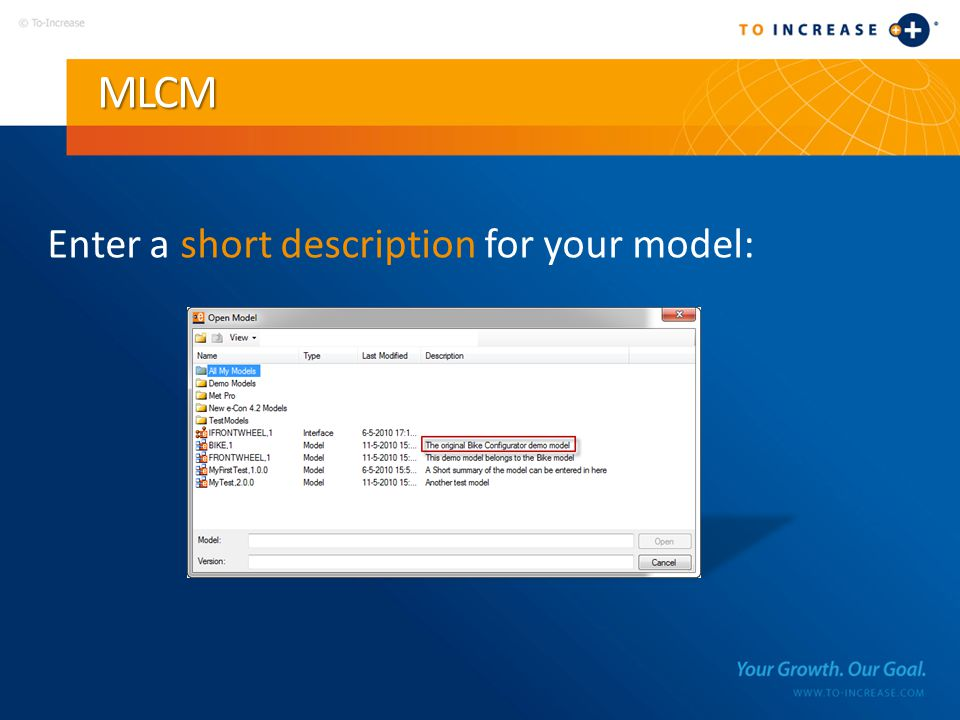 MLCM Enter a short description for your model: