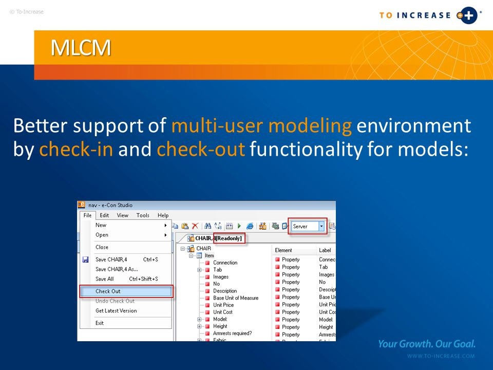 MLCM Better support of multi-user modeling environment by check-in and check-out functionality for models: