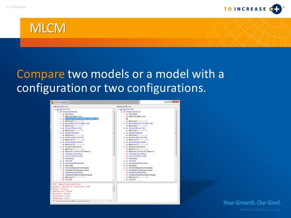 MLCM Compare two models or a model with a configuration or two configurations.