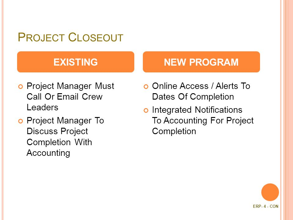 P ROJECT C LOSEOUT Project Manager Must Call Or  Crew Leaders Project Manager To Discuss Project Completion With Accounting Online Access / Alerts To Dates Of Completion Integrated Notifications To Accounting For Project Completion EXISTINGNEW PROGRAM ERP- 4 - CON