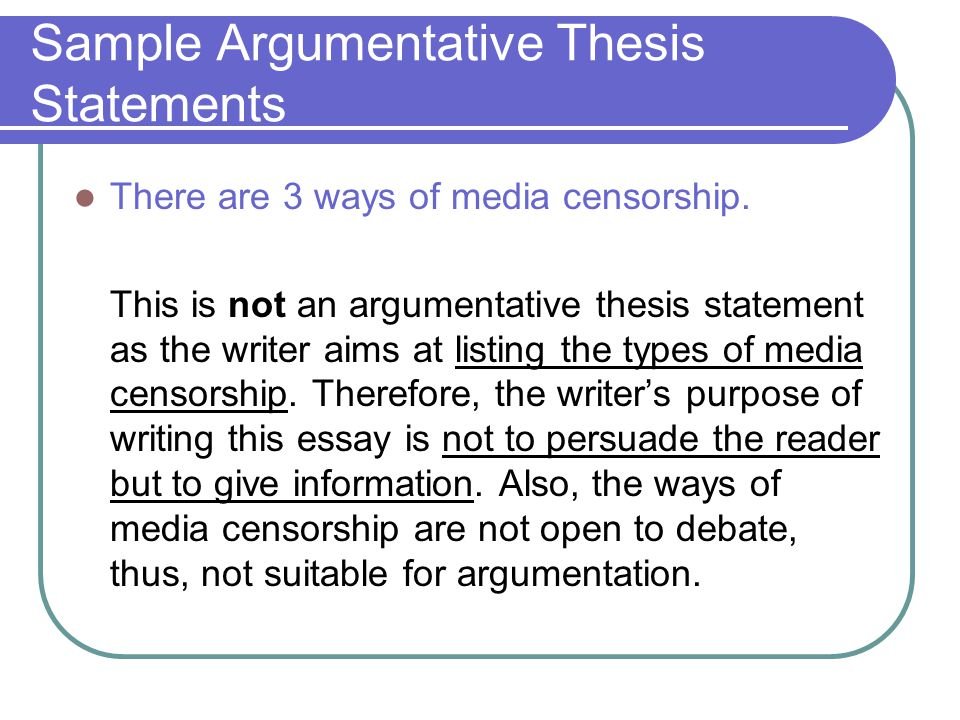 Censorship Thesis Statement
