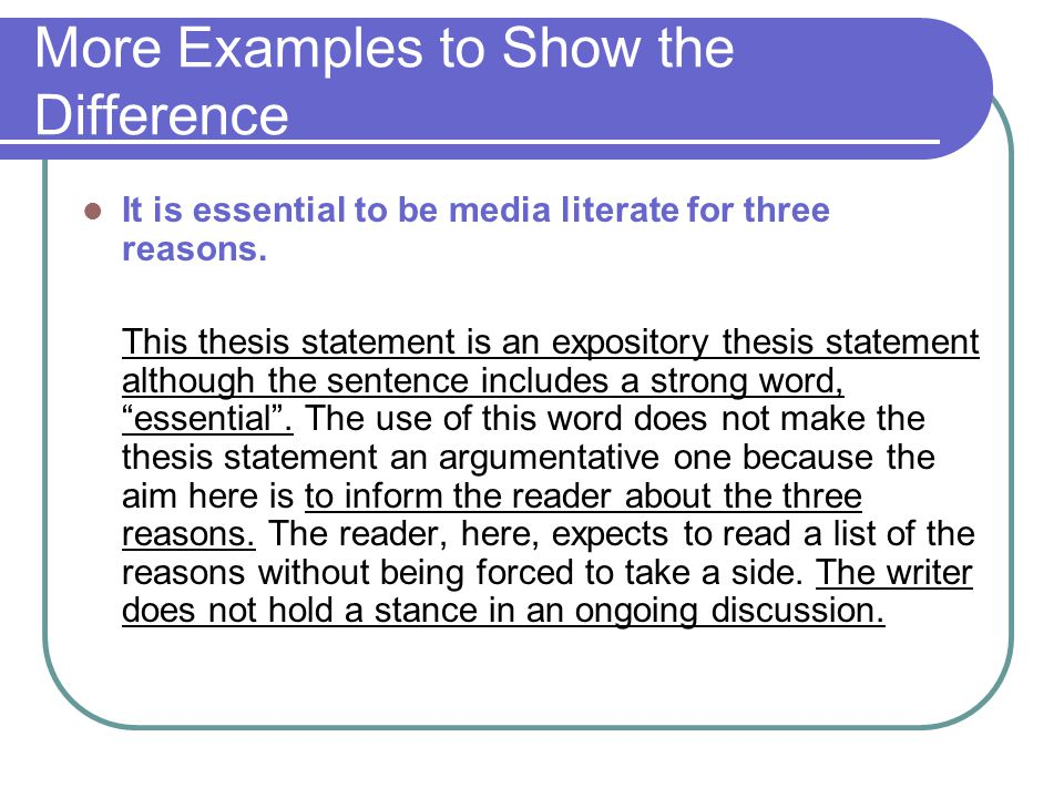 Explanatory thesis statement
