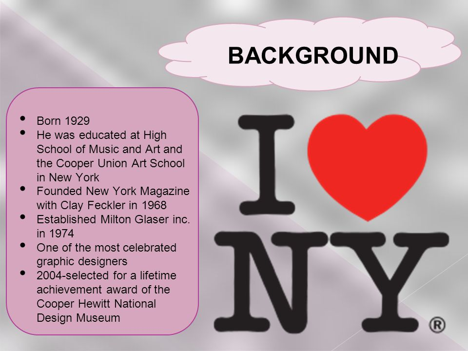 Born 1929 He was educated at High School of Music and Art and the Cooper Union Art School in New York Founded New York Magazine with Clay Feckler in 1968 Established Milton Glaser inc.