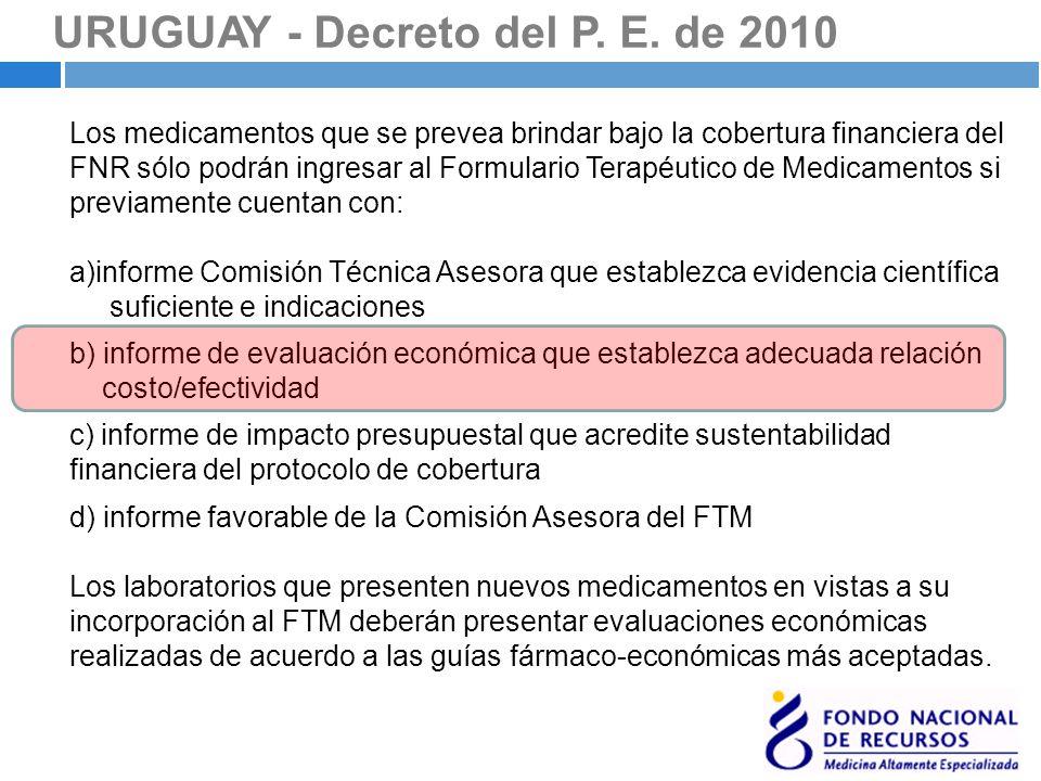 URUGUAY - Decreto del P. E. de 2010 Los medicamentos que se prevea brindar bajo la cobertura financiera del FNR sólo podrán ingresar al Formulario Ter