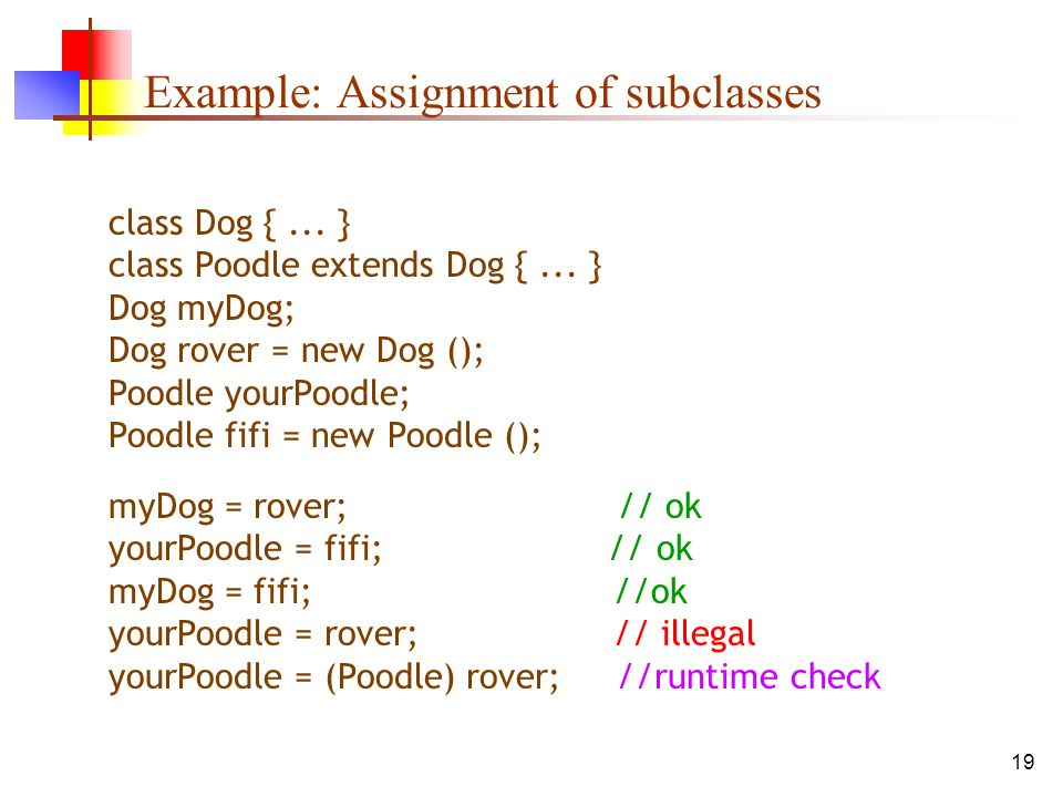 19 Example: Assignment of subclasses class Dog {...