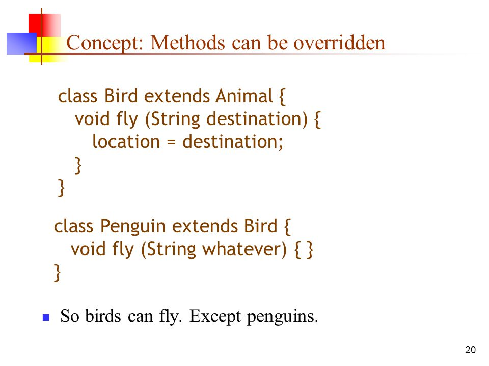 20 Concept: Methods can be overridden So birds can fly.