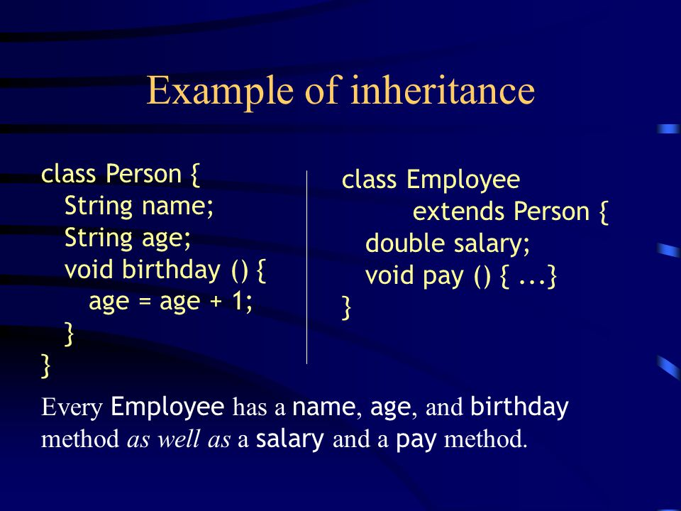 Example of inheritance class Person { String name; String age; void birthday () { age = age + 1; } class Employee extends Person { double salary; void