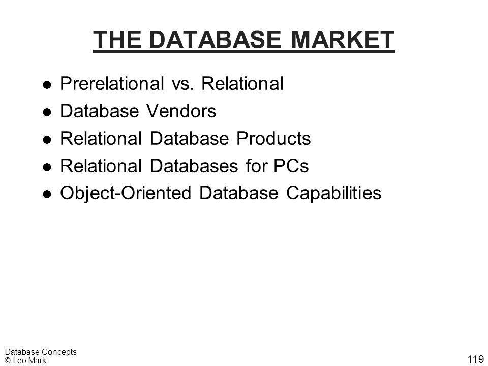 119 Database Concepts © Leo Mark THE DATABASE MARKET l Prerelational vs. Relational l Database Vendors l Relational Database Products l Relational Dat