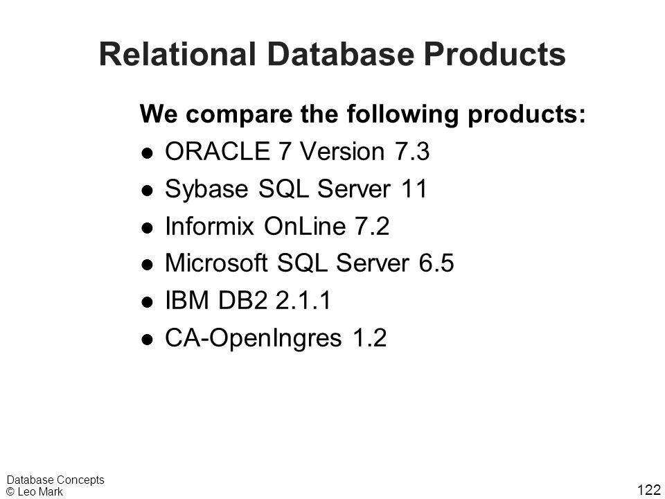 122 Database Concepts © Leo Mark We compare the following products: l ORACLE 7 Version 7.3 l Sybase SQL Server 11 l Informix OnLine 7.2 l Microsoft SQ