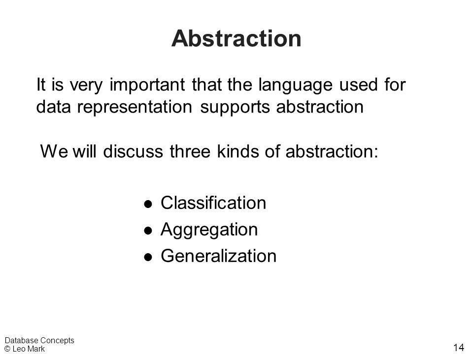 14 Database Concepts © Leo Mark Abstraction l Classification l Aggregation l Generalization It is very important that the language used for data repre