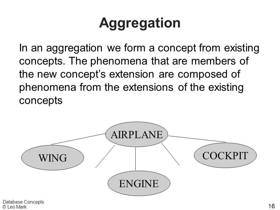 16 Database Concepts © Leo Mark Aggregation In an aggregation we form a concept from existing concepts. The phenomena that are members of the new conc