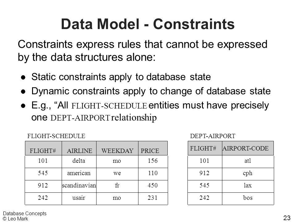 23 Database Concepts © Leo Mark Data Model - Constraints l Static constraints apply to database state l Dynamic constraints apply to change of databas