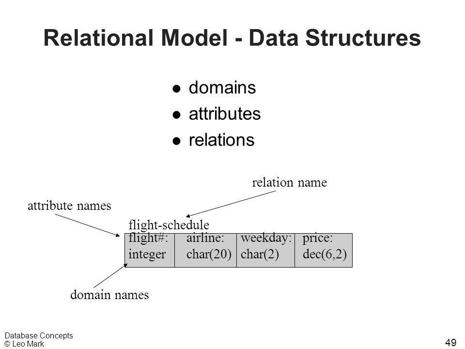 49 Database Concepts © Leo Mark Relational Model - Data Structures l domains l attributes l relations flight-schedule flight#: integer airline: char(2