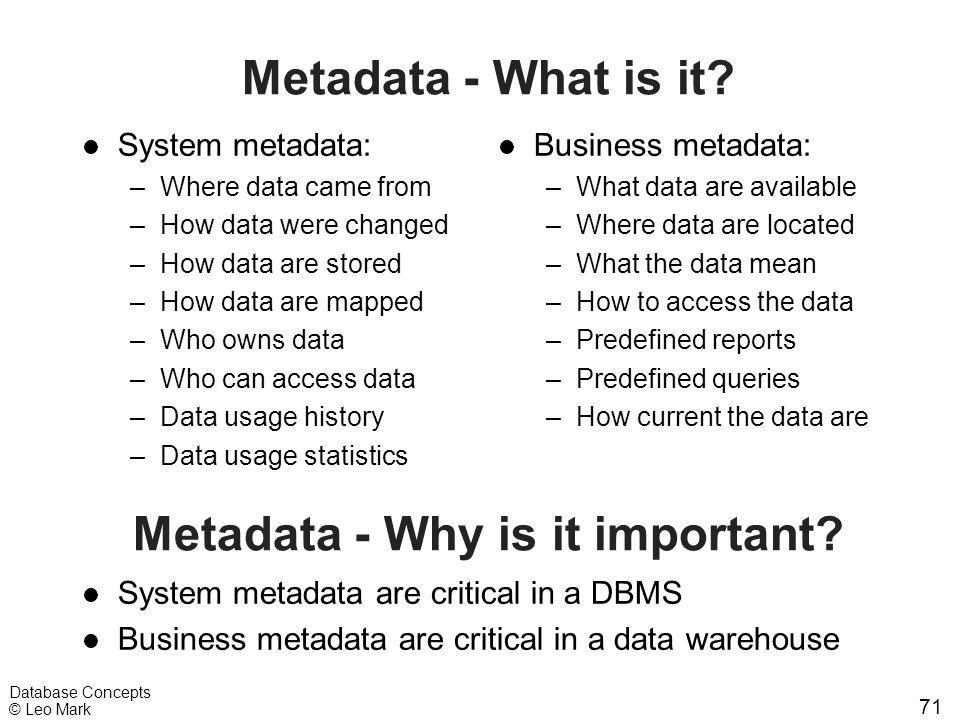 71 Database Concepts © Leo Mark Metadata - What is it? l System metadata: –Where data came from –How data were changed –How data are stored –How data