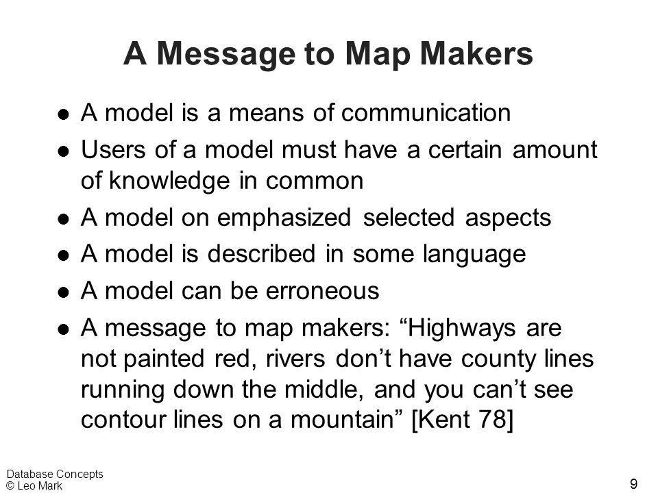9 Database Concepts © Leo Mark A Message to Map Makers l A model is a means of communication l Users of a model must have a certain amount of knowledg