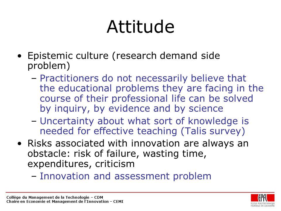 Collège du Management de la Technologie – CDM Chaire en Economie et Management de l'Innovation – CEMI Attitude Epistemic culture (research demand side