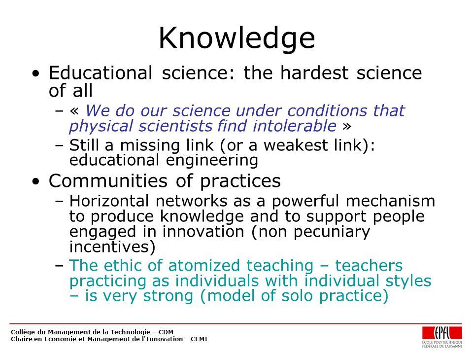 Collège du Management de la Technologie – CDM Chaire en Economie et Management de l'Innovation – CEMI Knowledge Educational science: the hardest scien