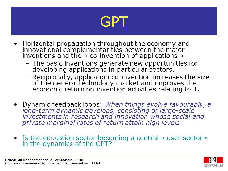 Collège du Management de la Technologie – CDM Chaire en Economie et Management de l'Innovation – CEMI GPT Horizontal propagation throughout the econom