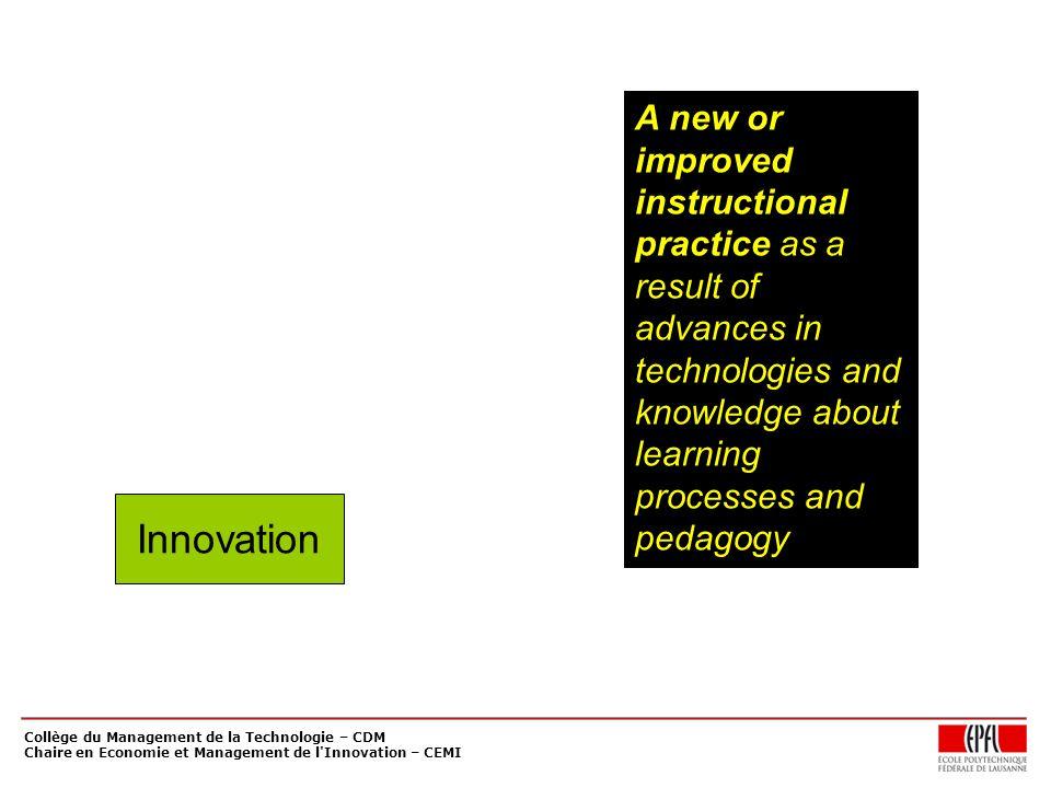 Collège du Management de la Technologie – CDM Chaire en Economie et Management de l'Innovation – CEMI Innovation A new or improved instructional pract
