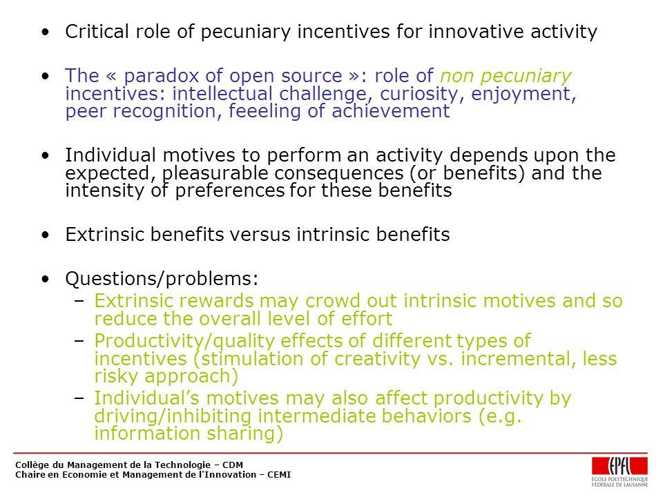 Collège du Management de la Technologie – CDM Chaire en Economie et Management de l'Innovation – CEMI Critical role of pecuniary incentives for innova