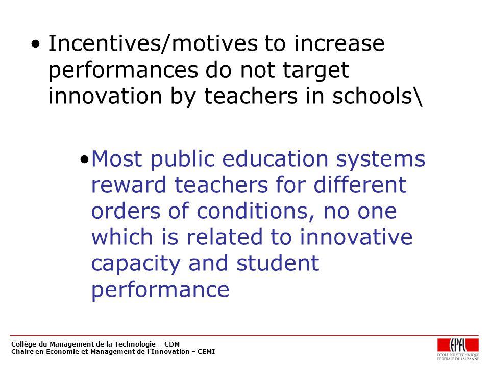 Collège du Management de la Technologie – CDM Chaire en Economie et Management de l'Innovation – CEMI Incentives/motives to increase performances do n