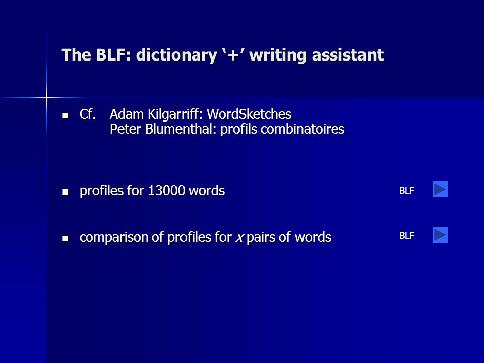 The BLF: dictionary '+' writing assistant Cf.
