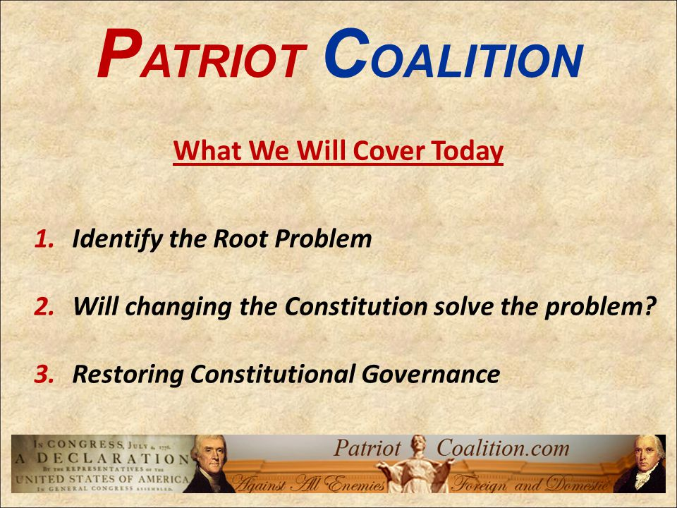 Identifying The Wrong Problem: Public servants do not follow the Constitution.