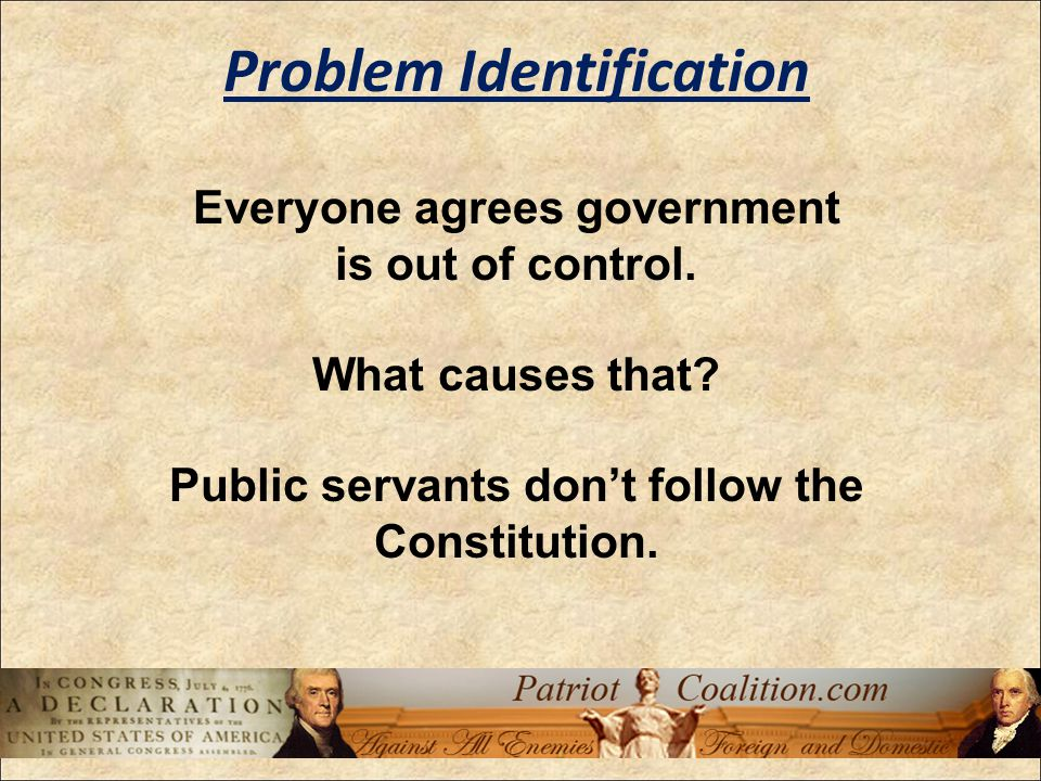 Do supporters of changing the Constitution explain how that will solve the problem.