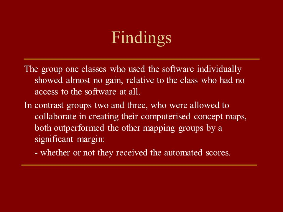 Findings The group one classes who used the software individually showed almost no gain, relative to the class who had no access to the software at al