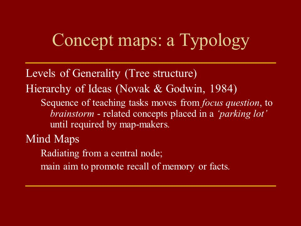 Concept maps: a Typology Levels of Generality (Tree structure) Hierarchy of Ideas (Novak & Godwin, 1984) Sequence of teaching tasks moves from focus q