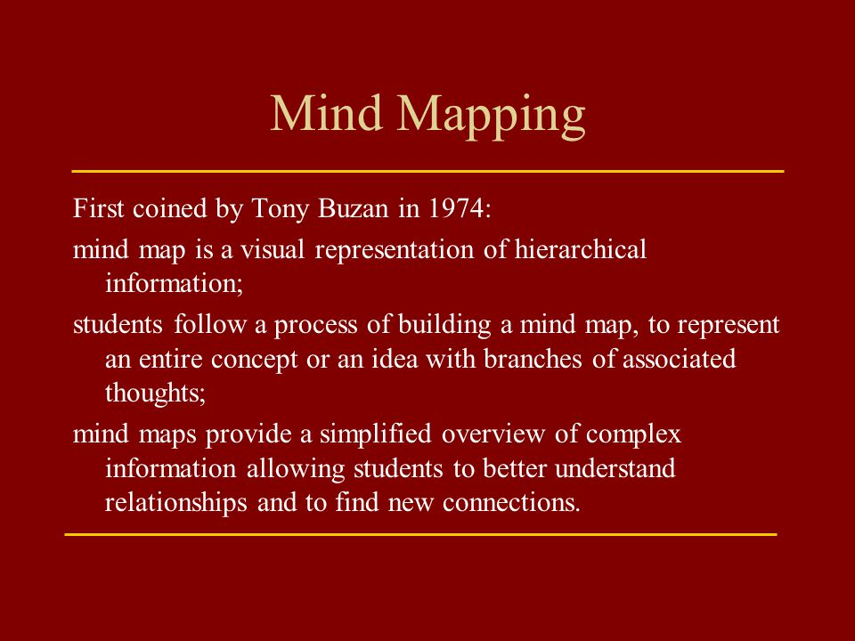 Mind Mapping First coined by Tony Buzan in 1974: mind map is a visual representation of hierarchical information; students follow a process of buildin