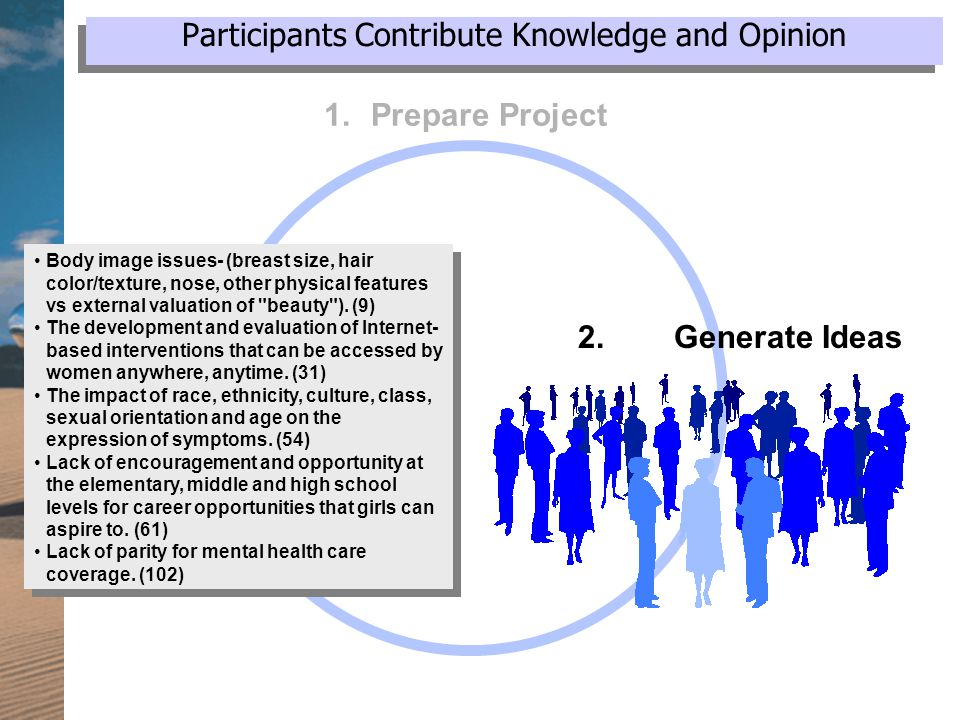 Participants Contribute Knowledge and Opinion 1.