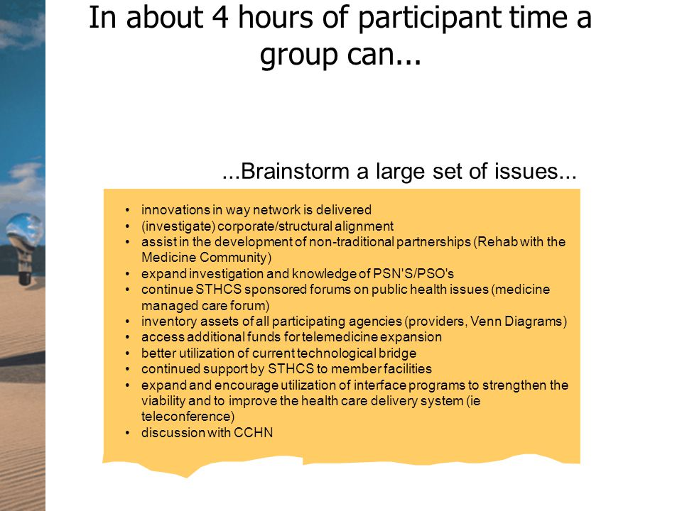 In about 4 hours of participant time a group can......Brainstorm a large set of issues...