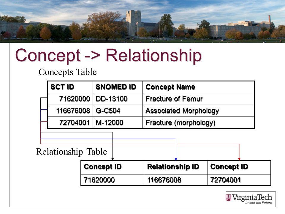 Concept -> Relationship 7270400111667600871620000 Concept ID Relationship ID Concept ID Relationship Table Fracture (morphology) M-1200072704001 Assoc