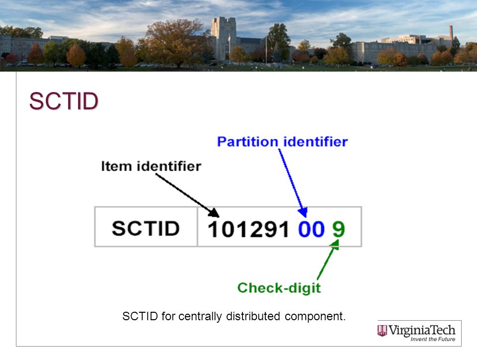 SCTID SCTID for centrally distributed component.