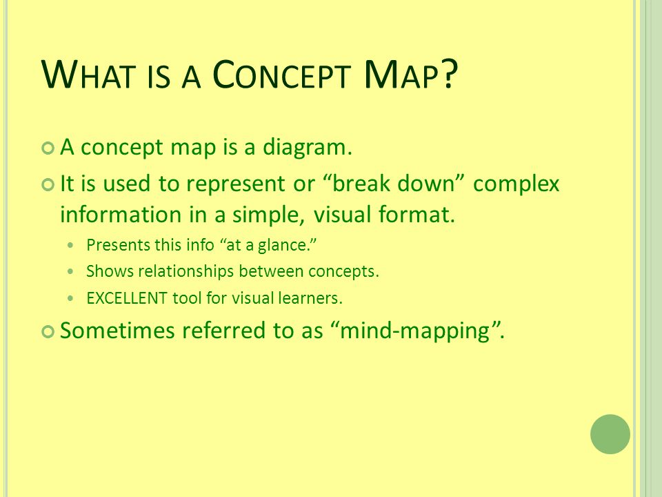 W HAT IS A C ONCEPT M AP . A concept map is a diagram.