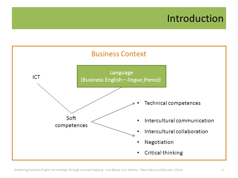 Introduction ICT Language (Business English – lingua franca) Business Context Soft competences Technical competences Intercultural communication Intercultural collaboration Negotiation Critical thinking 2Enhancing business English terminology through concept mapping - Ana Balula, Ciro Martins, Fábio Marques (EduLearn 2014)