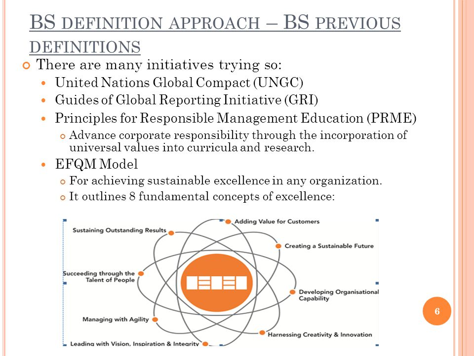 BS DEFINITION APPROACH – BS PREVIOUS DEFINITIONS There are many initiatives trying so: United Nations Global Compact (UNGC) Guides of Global Reporting Initiative (GRI) Principles for Responsible Management Education (PRME ) Advance corporate responsibility through the incorporation of universal values into curricula and research.